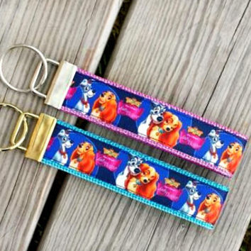 Disney Inspired Lady and the Tramp Keychain, Key Fob, Accessories, Wristlet, Key Holder, Fish Extender, Dogs