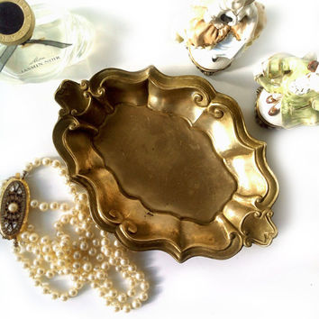 Antique Solid Brass Oval Trinket Dish , Victorian style display dish , Vintage Tableware .
