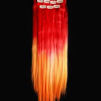 18'' 12pcs Synthetic Ombre Dip Dyed Hippie Hair Human Extension Clip in 27colors WGY46 Red / Orange