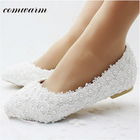 Beautiful Bride Luxury Women Shoes Handmade Wedding Shoes Lace Diamond Pearl Rhinestone Beaded Anklet Shoes White Falt Shoes