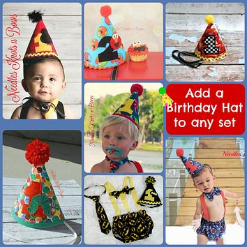 Add a Boys Birthday Hat to Your Boys Birthday Outfit or Boys Cake Smash Set