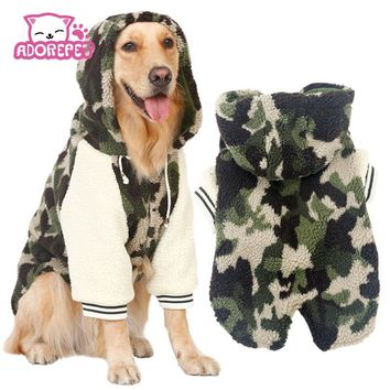 Winter warm fleece Big large dog coat jacket camouflage dog puppy hoodie pajamas clothing golden retriever pitbull dog clothes