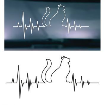 Heartbeat Cat STYLE 002 Vinyl Graphic Decal
