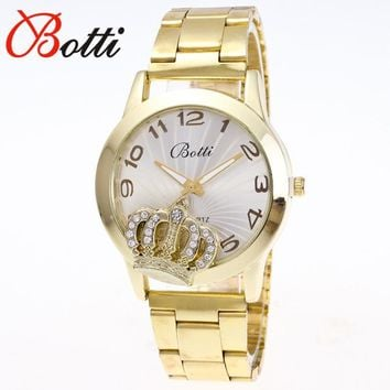 New Ybotti Famous Brand Gold Luxury Crown Casual Quartz Watch Women Stainless Steel Watches Relogio Feminino Paris Tower watch