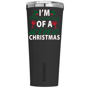 Corkcicle Im Dreaming of a Wine Christmas on Black 24 oz Tumbler Cup