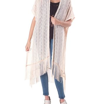 Summer Of Love Lace Fringe Cardigan - Ivory