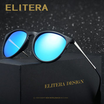ELITERA Retro Round Polarized Sunglasses Women Brand Designer Luxury Sun Glasses For Men Metal Frame Female oculos Male UV400