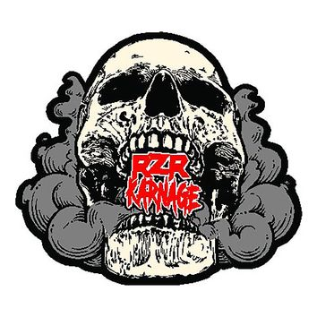 "RZR Karnage Logo in Smokin' Skull 5 1/2"" Laminated Sticker"