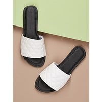 Open Toe Stitched Wide Band Slip On Flat Sandals