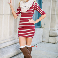Seeing Stars Burgundy & Oatmeal Striped Bodycon Dress