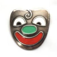 Eric Magnussen Theatrical Mask Brooch Pin, Sterling Silver and Enamel, Denmark, Designer Jewelry