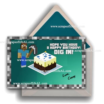 Instant Download PRINTABLE MINECRAFT Birthday Card Greeting Card - 2x Sizes Included DiY Blank Print