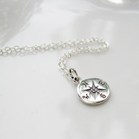 Compass Necklace Sterling Silver  Graduation Gift by SusiDjewelry
