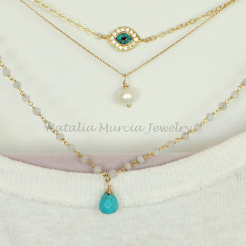 Layered Necklace Three Necklaces One Clasp. Gold Filled Chains Moonstone Chain Turquoise Tear Drop Evil Eye and Freshwater Pearl Multi layer