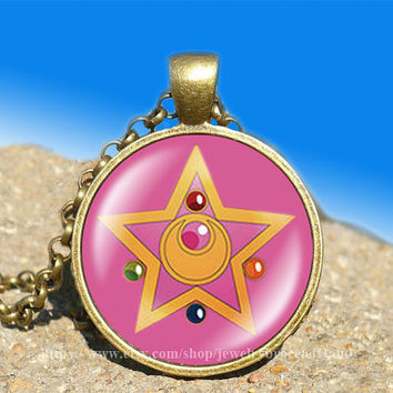 sailor moon crystal star locket anime vintage pendant -necklace ready for gifting Buy 3 and get the 4th one free