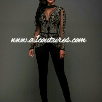 fae02cf7f24 Elayah Mesh Gold Studded Jumpsuit
