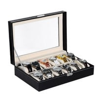 Fashion 12 Slots Watch Jewelry Display Case Box Storage PU Leather Women New (Size: 30.3cm by 20.2cm by 8cm, Color: Black) = 1705759108