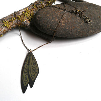 Wood wing necklace moss green painted wood jewelry