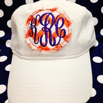 Raggedy Stitch Monogrammed Ladies Hat Monogrammed Hat Monogram Hat Ladies Monogram Hat Womens Monogram hat