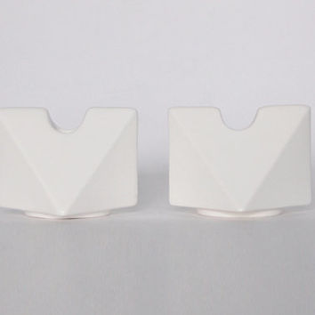 Modernist  Set of Two Dutch White Candle Holders  - Cor Unum  c.70s 80s