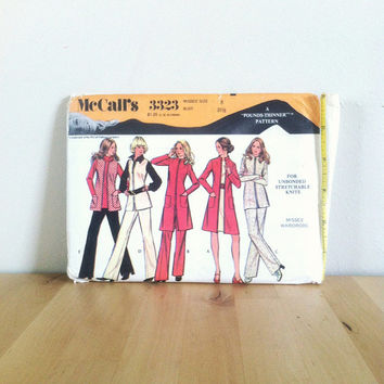 McCall's 3323 Misses' Wardrobe - For Unbonded Stretchable Knits: Jacket, Coat, and Pants {1970s} Vintage Sewing Pattern
