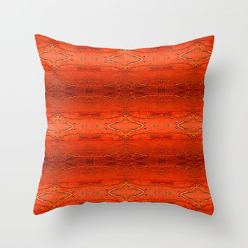 Rustic Orange Geometric Southwestern Pattern - Luxury - Comforter - Bedding - Throw Pillows - Rugs Throw Pillow by Corbin Henry