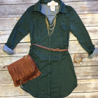You Plaid me at Hello Belted Tunic: Olive