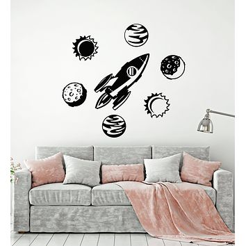 Vinyl Wall Decal Space Rocket Planets Cosmic Universe Kid's Room Stickers Mural (g2631)