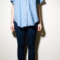 Oversized 70s Blue Chambray Oxford Collar Button Up Shirt L