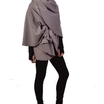 NOMAD WRAP in Pewter French Terry