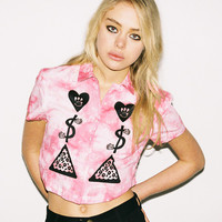 Lazy Oaf | Love Money Pizza Crop Shirt