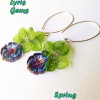 Blue Pansy  Earrings Blue Flower with Green Leaves Blue and Green Flower Jewelry. Czech beads earrings