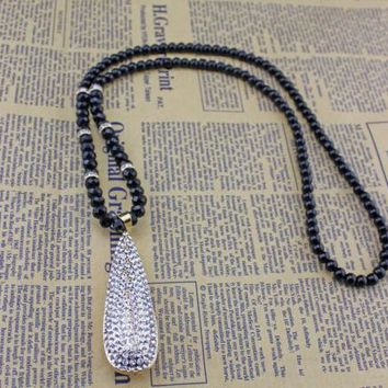 Fashion Rhinestone Big Drop Pendant Necklace Black Beads Crystal Long Chain jewlery