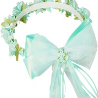Mint Green Floral Crown Wreath Handmade with Silk Flowers, Back Satin Ribbons & Bows (Girls)