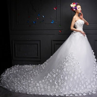 Beautiful 2015 new bride wedding dress long train simple flowers = 1929479556