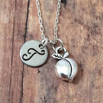 Peach initial necklace - silver peach charm, fruit charms, Georgia necklace, hand stamped jewelry, peach necklace