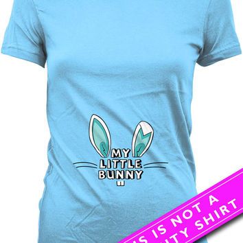 Easter Pregnancy Shirt Pregnancy Reveal Pregnancy Announcement My Little Bunny Shirt Gifts For Expecting Mothers Maternity Ladies Tee MAT485