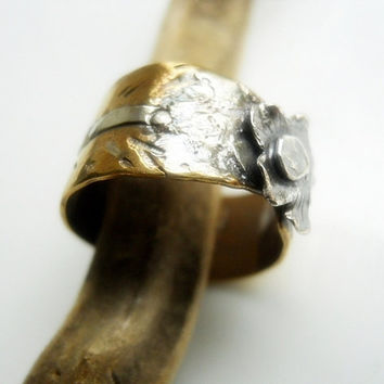Distressed Flower Ring Brass Sterling Silver Fine by patinaware