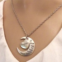 Mom - I Love You To The Moon and Back Heart Moon Silver Toned Pendant Mother Gift Charm Necklace