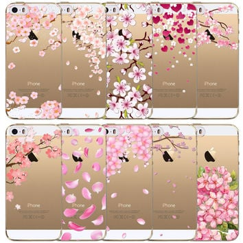 2016 Beautiful Flowers Love Heart Patterns Soft Silicon Phone Cases For Apple iPhone SE 5 5s funds Coque Capa Para Shell