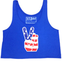 Ladies 'American Peace Sign' Crop Top