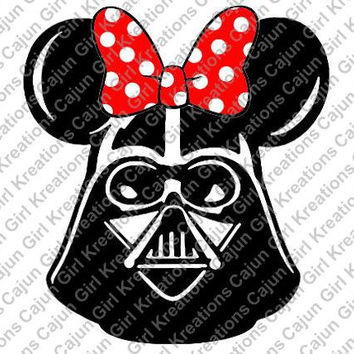 Darth Vader Minnie Mouse Ears Disney Vacation Printable Iron On Transfer DIY Tshirts Instant Download We Can Personalize!!