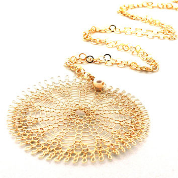 XL Sunflower pendant necklace , wire crocheted flower