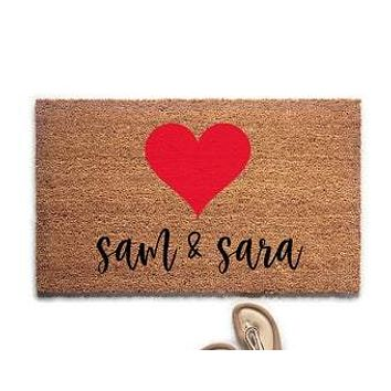Personalized Couple's Names with Heart Doormat