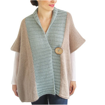 NEW - Beige - Mint Mohair Cardigan with Big Coconut Button by Afra Plus Size Over Size