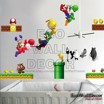 PEEL and STICK Kids Nursery Removable Vinyl Wall Sticker Mural Decal Art - Nintendo New Super Mario Wii
