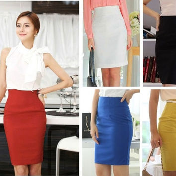 Hot Women's Bodycon High Waist Business Career Office Knee Lenght Pencil Skirt = 1946221956