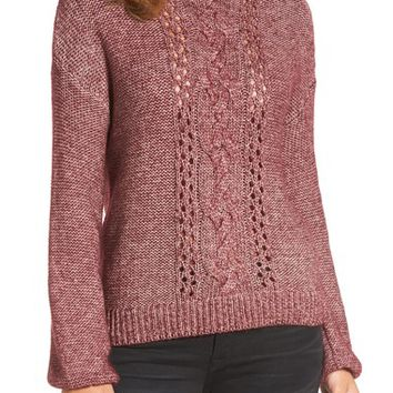 Caslon® Open Cable Knit Funnel Neck Sweater (Regular & Petite) | Nordstrom