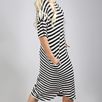 pocket full of sunshine stripe tunic - black