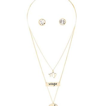 """Virgo"" Astrology Necklace & Earrings Set"